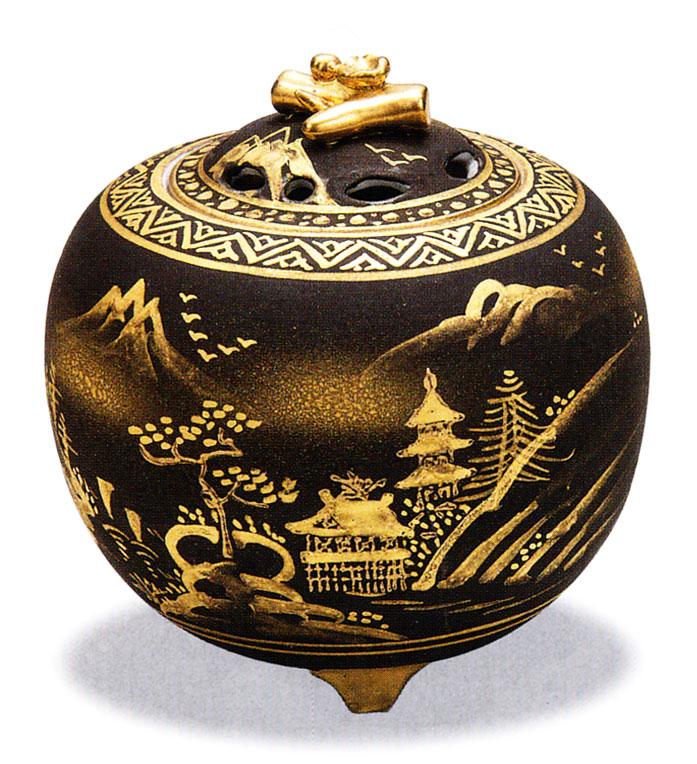 九谷焼 「3.5号香炉・ダマシン山水」お祝い・海外への贈り物・ギフト