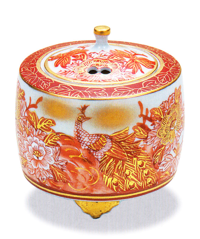 九谷焼 「3.5号香炉・赤牡丹孔雀」佐伯信平お祝い・海外への贈り物・ギフト