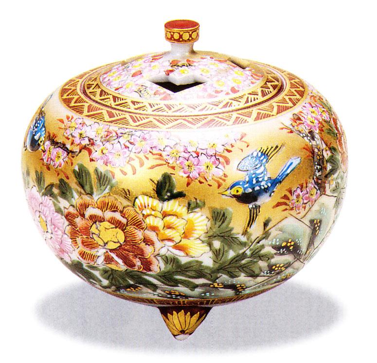 九谷焼 「4号香炉・本金花鳥」高明お祝い・海外への贈り物・ギフト