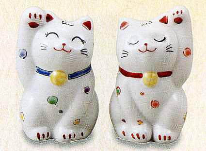 定価の67%OFF 店 幸せを呼ぶ置物 2.8号ペア招き猫 水玉九谷焼