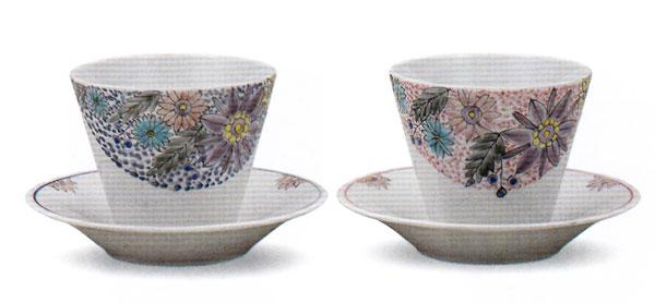 九谷焼 ペアフリーカップ・花の詩