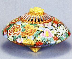 九谷焼 「4.5号香炉・本金花詰 大雅」お祝い・海外への贈り物・ギフト
