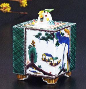 九谷焼 「3.5号香炉・舟山水の図 加登明雄」お祝い・海外への贈り物・ギフト