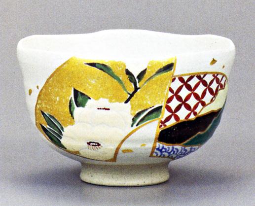 抹茶碗 「金彩扇面椿 山崎浩」 九谷焼
