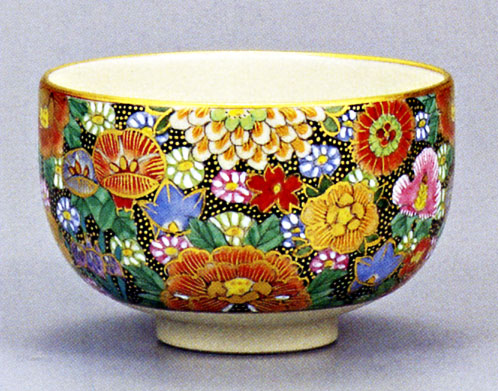 抹茶碗 「本金花詰 大雅」 九谷焼