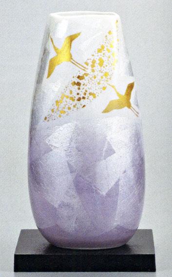 九谷焼10号花瓶・銀彩飛翔(台付)/10号変型花瓶/床の間/和室
