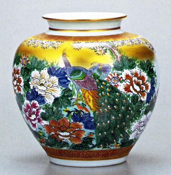 九谷焼10号花瓶・牡丹孔雀 /10号花瓶/床の間/和室