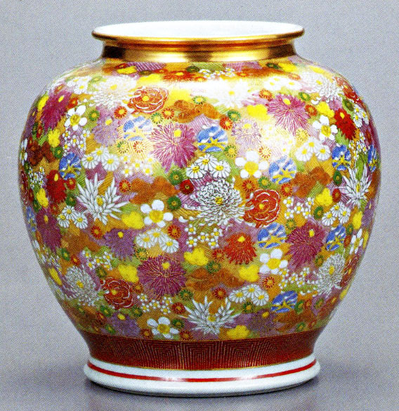 九谷焼10.5号花瓶・金花詰 /10号花瓶/床の間/和室