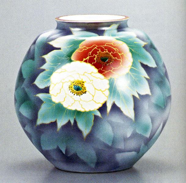 九谷焼10号花瓶・紅白牡丹 /10号花瓶/床の間/和室