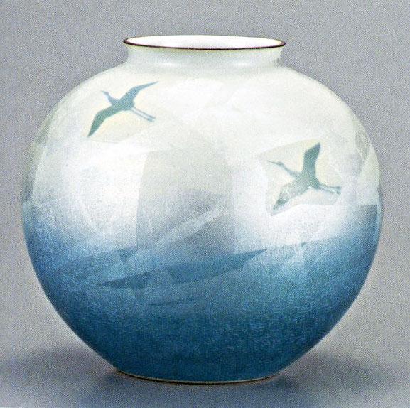 九谷焼10号花瓶・銀彩双鶴 /10号花瓶/床の間/和室
