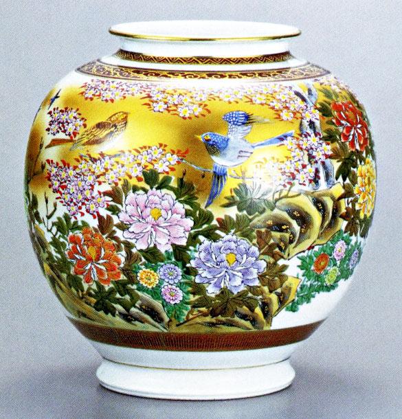 九谷焼10号花瓶・本金花鳥 光崖 /10号花瓶/床の間/和室