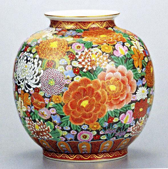 九谷焼10号花瓶・本金花詰 大雅 /10号花瓶/床の間/和室