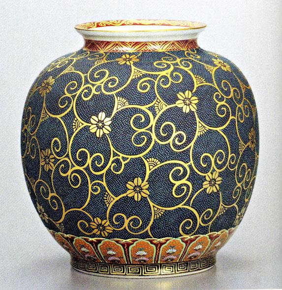 九谷焼10号花瓶・本金青粒鉄仙 大雅 /10号花瓶/床の間/和室