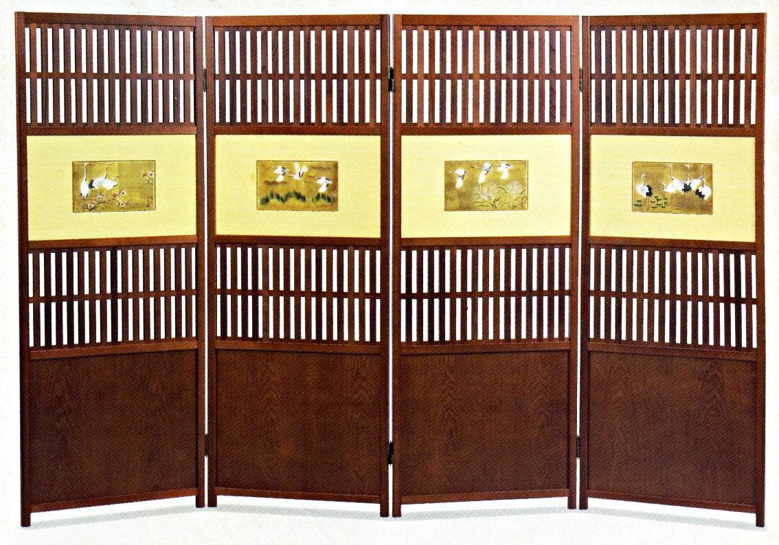 九谷焼 衝立(四曲)・鶴の図大西勇 お祝い 和室