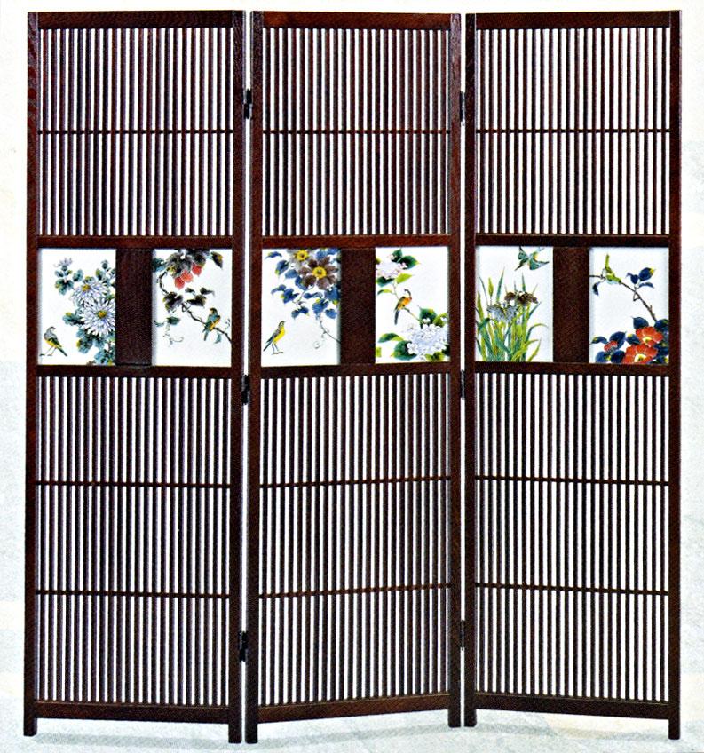 九谷焼 衝立(三連)・四季花鳥図高畠敏彦 お祝い 和室
