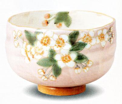 抹茶碗・桜 青良窯九谷焼