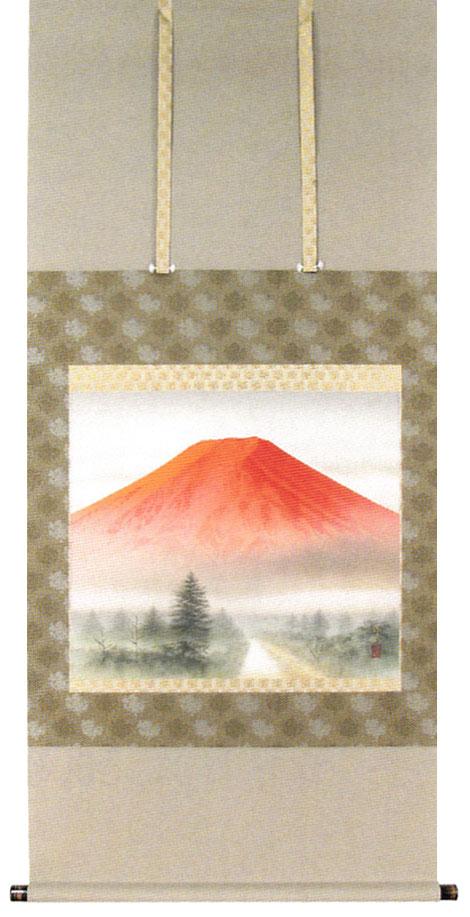 掛け軸 紅富士英保流作 掛軸