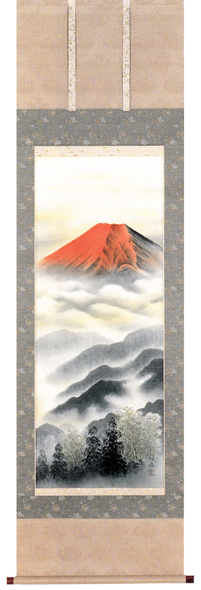 掛け軸 赤富士三輪汀水 掛軸