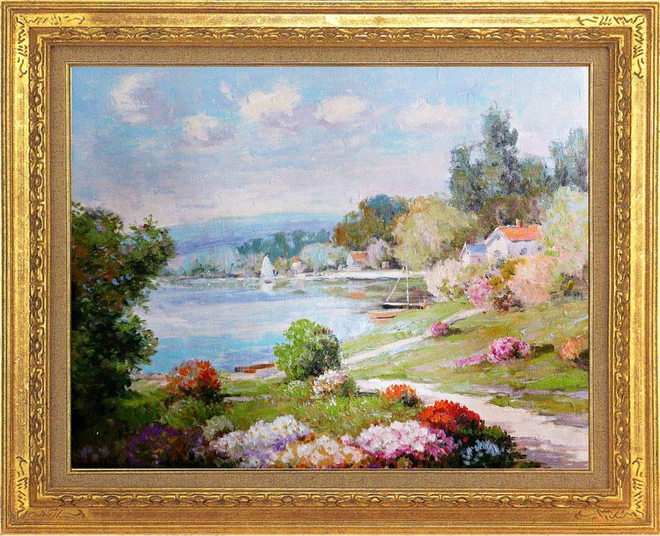 絵画 F10号「湖畔の春(プロヴァンス)」(油絵)P.ロネット作 【smtb-TK】
