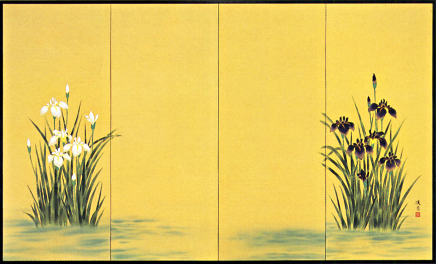 屏風 「菖蒲」清水渓月 作