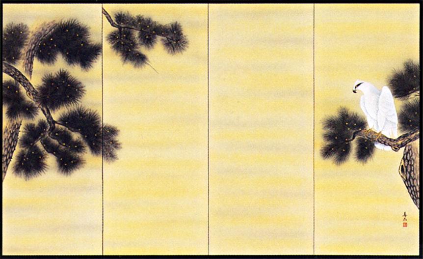 屏風 「松に鷹」大津寿石 作