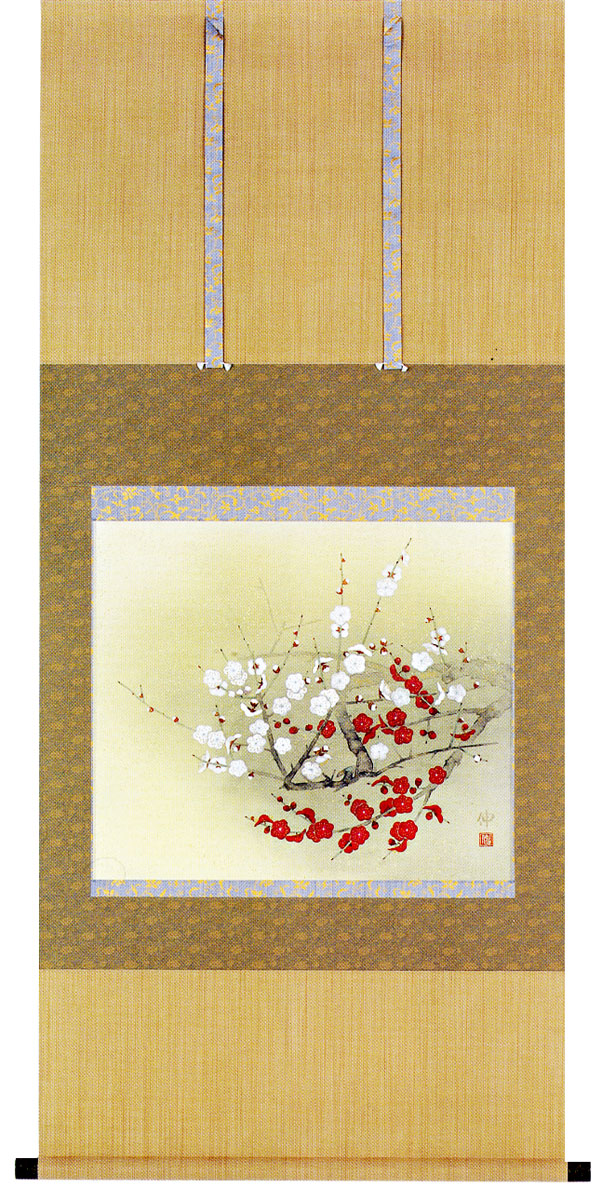 掛け軸 紅白梅 相原窓雪作季節の掛け軸【送料無料】【smtb-tk】販売・床の間