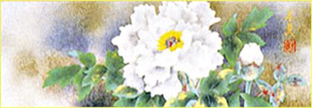 WSM色紙 「牡丹」(岩彩色紙)松村朱夏作
