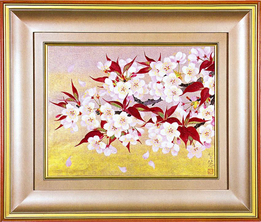 森田りえ子作 「山桜」 木版画 直筆サイン・落款入