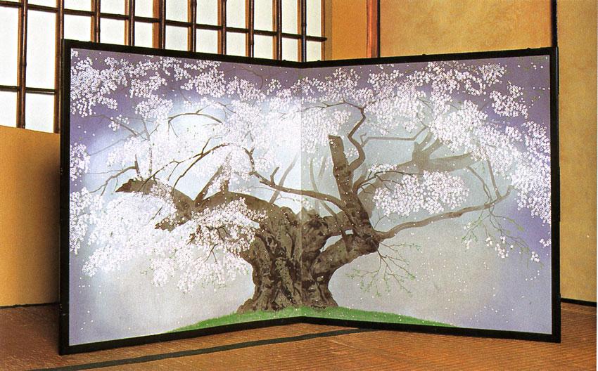 中島千波作 「樹霊淡墨桜」 木版画 (屏風)肉筆サイン及び作家認印が押印