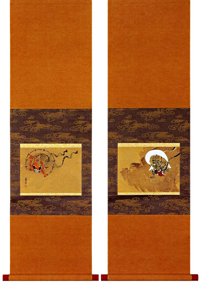 尾形光琳筆 「風神雷神図」 木版画 (掛け軸)