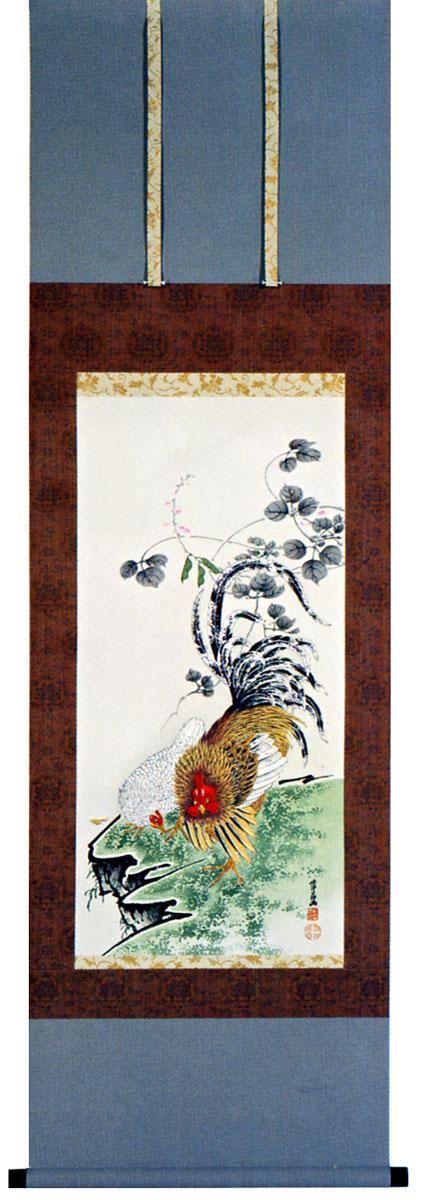 伊藤若冲筆「豆花双鶏図」木版画(掛け軸)