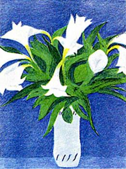 ピエール・ボンコンパン「ブルーの壁とゆり」