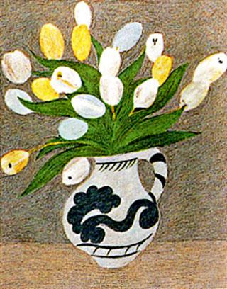 ピエール・ボンコンパン「白いチューリップ」