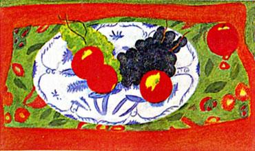 ピエール・ボンコンパン「黒いぶどうとインドのテーブルクロス」