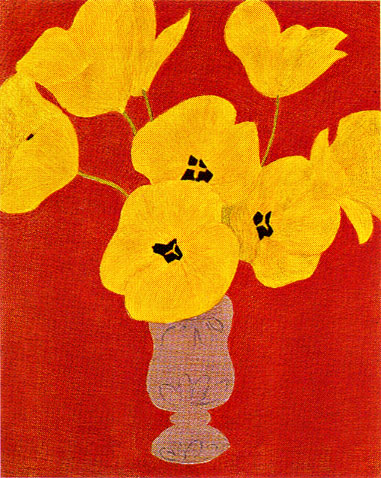 ピエール・ボンコンパン「赤い壁とチューリップ」