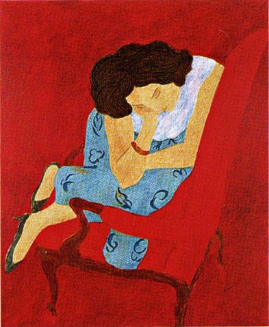 ピエール・ボンコンパン「赤い肱掛け椅子の女」