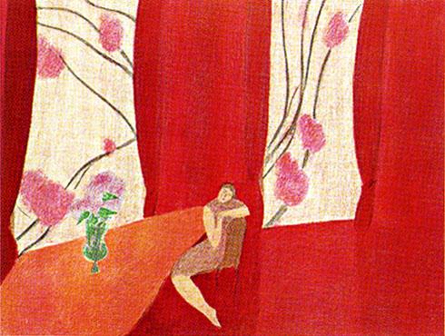 ピエール・ボンコンパン「赤いカーテン」