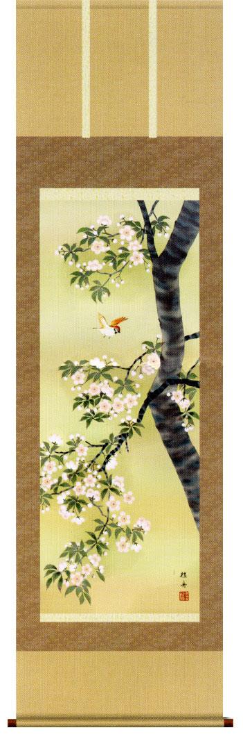 掛け軸 「桜花に小鳥」長江桂舟作販売・床の間