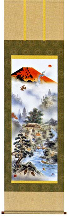 掛け軸 赤富士四神万全図 有馬荘園作 モダン 掛軸 販売 床の間 受注制作品