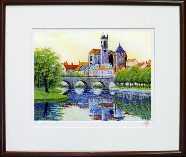 「聖堂のある街」(フランス モレー)ジクレー版画 神崎淳 画伯