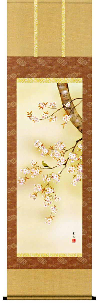 掛け軸「桜花」 緒方葉水作 【国内送料無料】【smtb-tk】