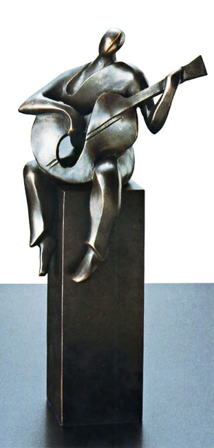 陶彫刻・ギターを持つ人B アート・贈り物としても喜ばれます