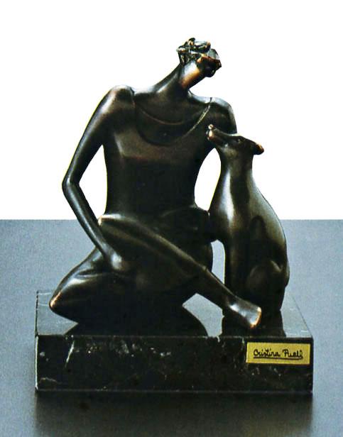 陶彫刻・犬と婦人C アート・贈り物としても喜ばれます