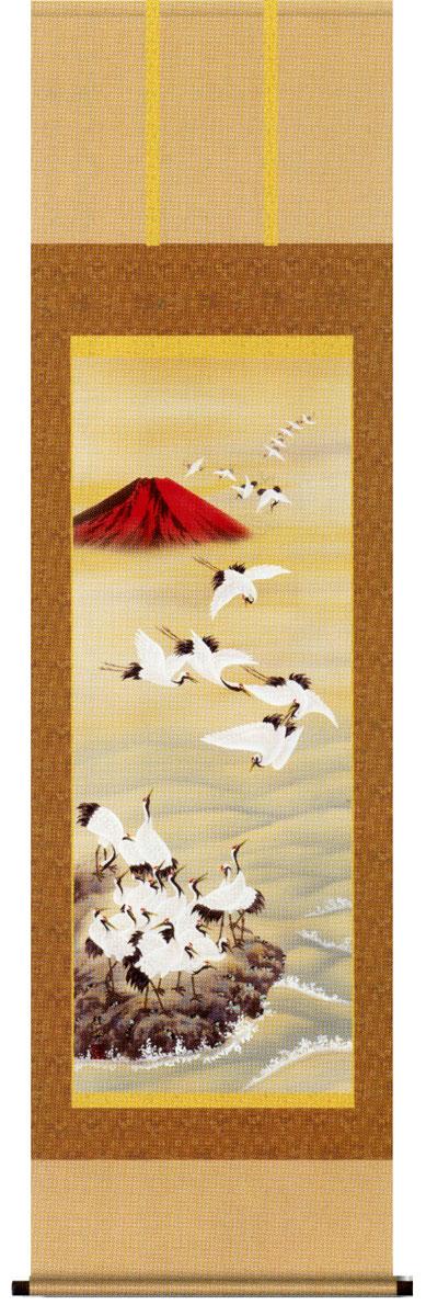 掛け軸 赤富士飛翔 長江桂舟作 お祝いの慶祝画 掛軸【送料無料】【smtb-tk】