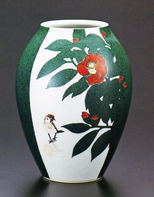 武腰一憲 8号花瓶・色絵椿に雀図