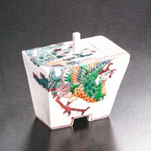 珍しい 九谷焼「4.2号香炉・鳳凰図」山近泰, カットバック 7b788197