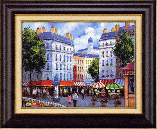 絵画 パリの街角 P.ディクソン作 風景画【送料無料】【smtb-TK】