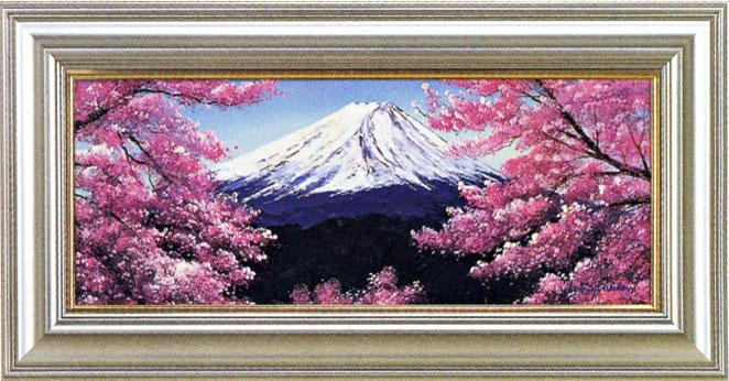 絵画 富士山と桜 L.フランクリン作 風景画【送料無料】【smtb-TK】