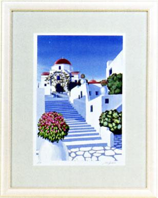 「白い壁のミコノス」星野光輝ジークレー版画