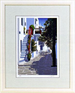 「木陰のミコノス」星野光輝ジークレー版画